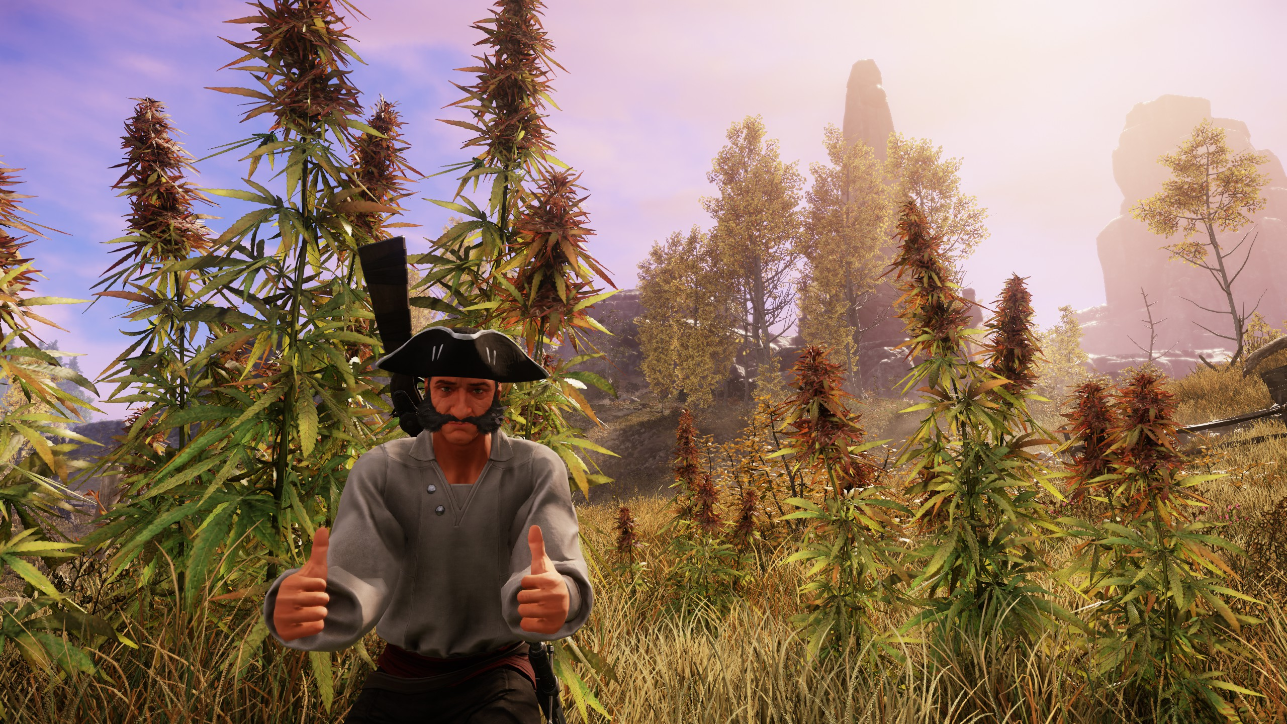 Giving the thumbs up in front of some hemp