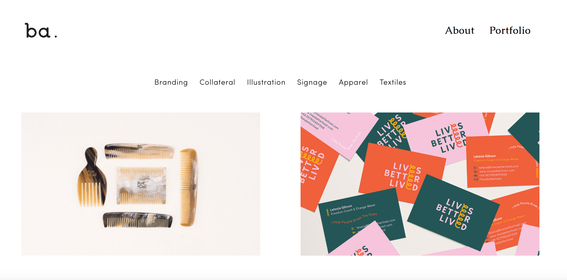 Becca Allen's website showing 2 pictures: a formation of combs and some business cards