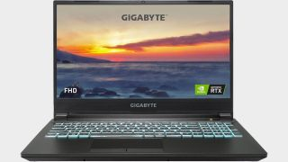 Gigabyte G5 gaming laptop on a gray background.