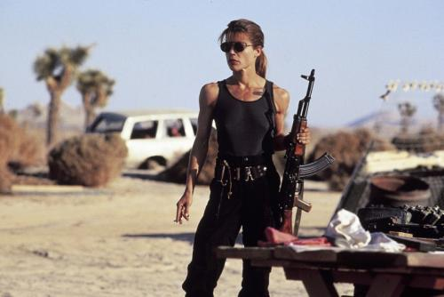 Judgement Day - Linda Hamilton shows off her gym-honed buff body as Sarah Connor in the sci-fi sequel.