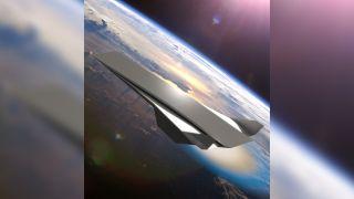 这种概念图像显示了由倾斜爆炸波动引擎提供动力的超音速飞机。