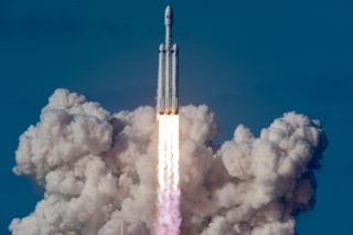 The Falcon Heavy rocket taking off from Launch Pad 39A at NASA's Kennedy Space Center on Feb. 6, 2018.