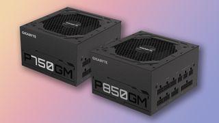 Gigabyte GP-P750/850GM power supplies on a gradient background