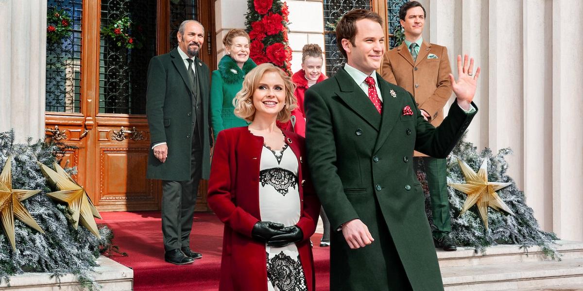 Amber and King Richard in A Christmas Prince 3: A Royal Baby