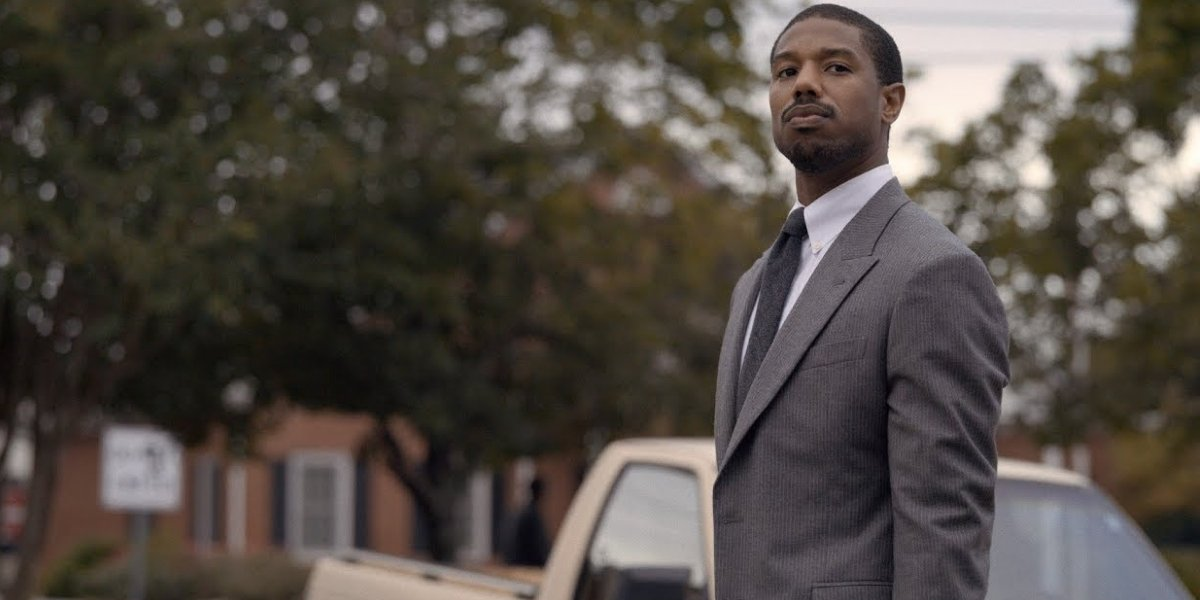 Just Mercy Michael B. Jordan stands proudly outside