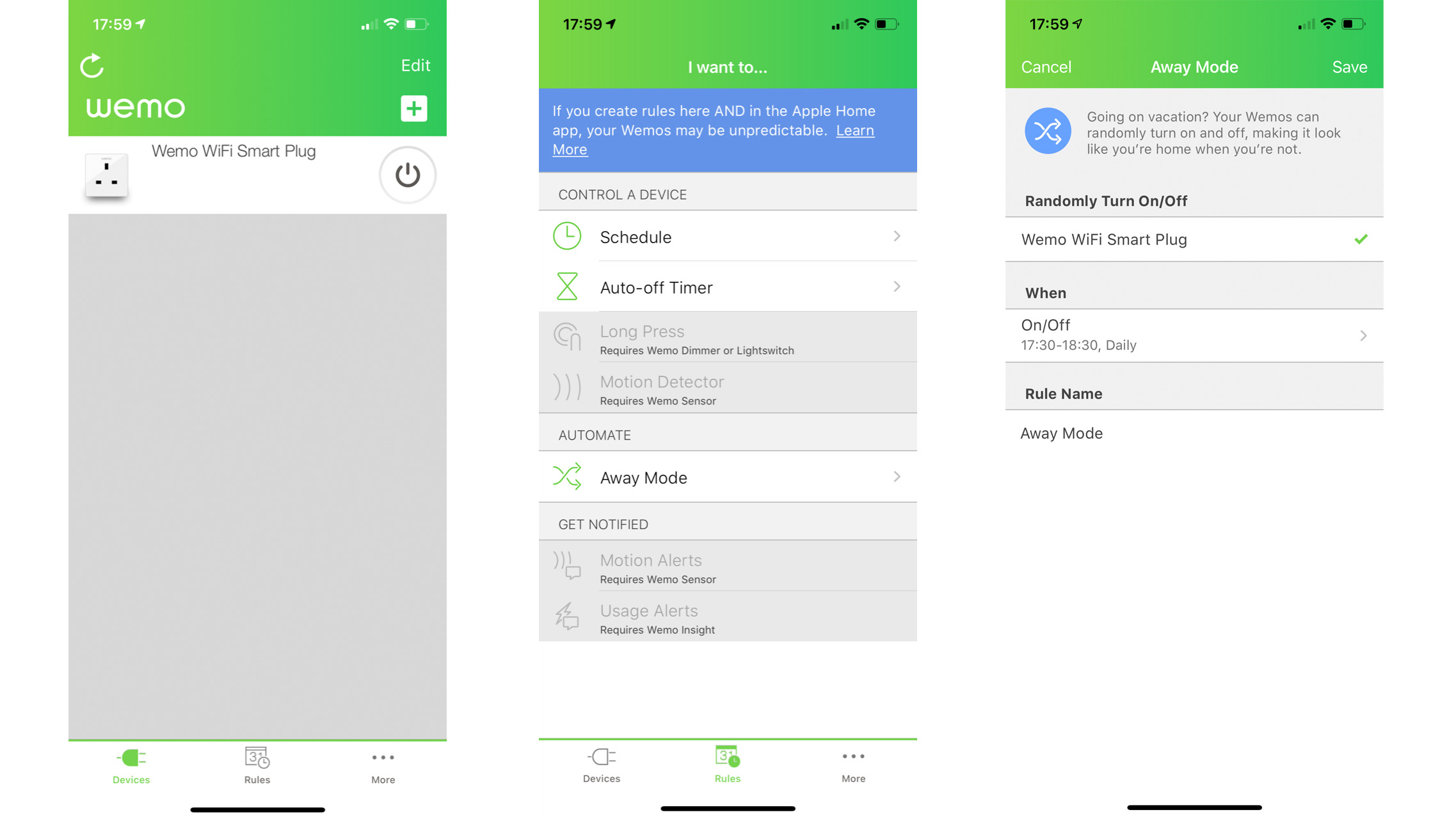 Screenshots from Wemo app for controlling Wemo Wifi smart plug