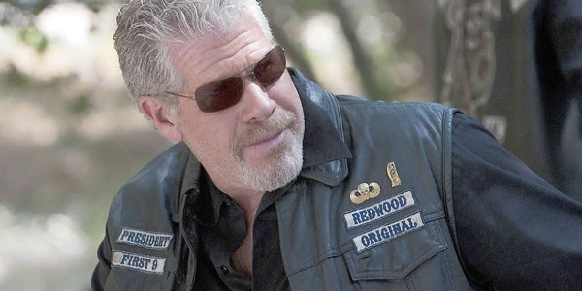 Ron Perlman dressed in his biker vest and sunglasses in Sons of Anarchy.