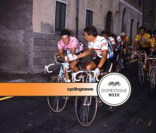 Eddy Schepers hands Stephen Roche a bidon at the 1987 Giro d'Italia