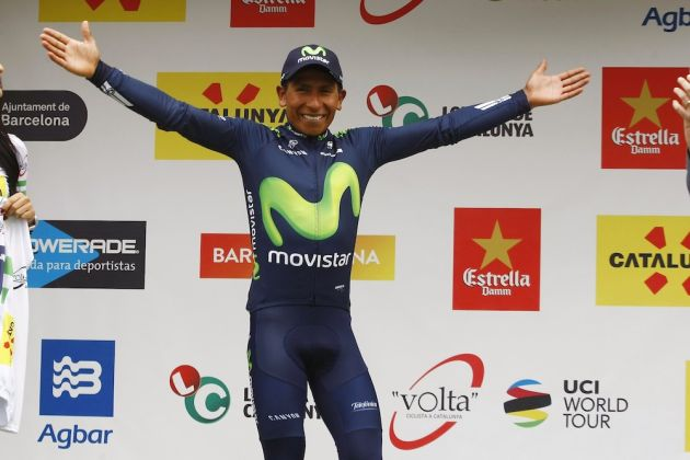 Nairo Quintana on the podium after winning the 2016 Volta a Catalunya