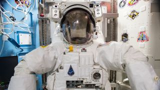 A U.S. spacesuit on board the International Space Station.