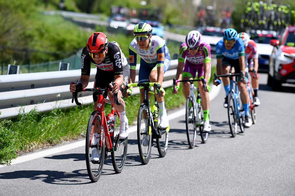 FOLIGNO ITALY MAY 17 Kobe Goossens of Belgium and Team Lotto Soudal Taco Van Der Hoorn of Netherlands and Team Intermarch Wanty Gobert Matriaux in breakaway during the 104th Giro dItalia 2021 Stage 10 a 139km stage from LAquila to Foligno girodiitalia Giro on May 17 2021 in Foligno Italy Photo by Tim de WaeleGetty Images