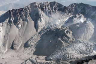 Mount St. Helens crater and glacier