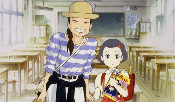 Only Yesterday Taeko in a classroom with a little girl