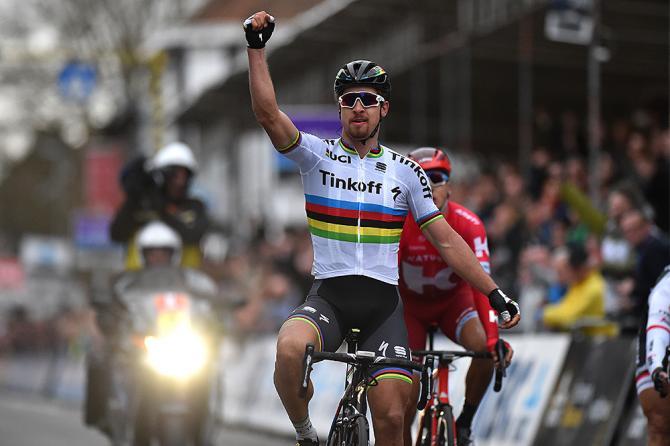 Peter Sagan (Tinkoff) sprints for the win at Gent-Wevelgem