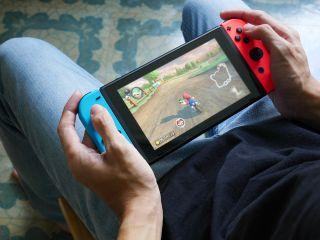 Image of Nintendo Switch with Mario Kart 8 Deluxe.