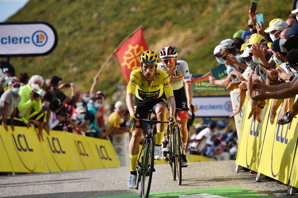 CANTAL FRANCE SEPTEMBER 11 Arrival Primoz Roglic of Slovenia and Team Jumbo Visma Yellow Leader Jersey Tadej Pogacar of Slovenia and UAE Team Emirates during the 107th Tour de France 2020 Stage 13 a 1915km stage from ChtelGuyon to Pas de PeyrolLe Puy Mary Cantal 1589m TDF2020 LeTour on September 11 2020 in Cantal France Photo by AnneChristine Poujoulat PoolGetty Images