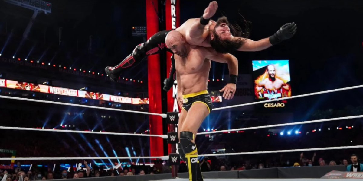 Cesaro and Seth Rollins at WrestleMania 37