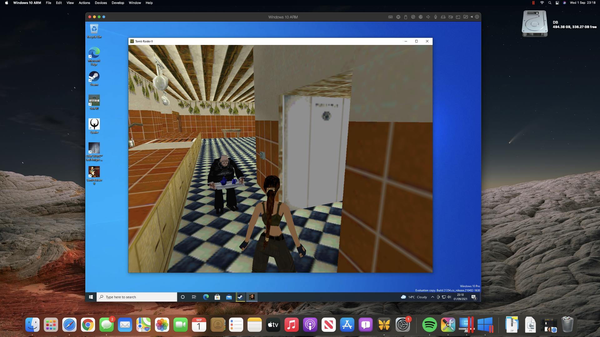 Tomb Raider II on an M1 Mac mini through Steam