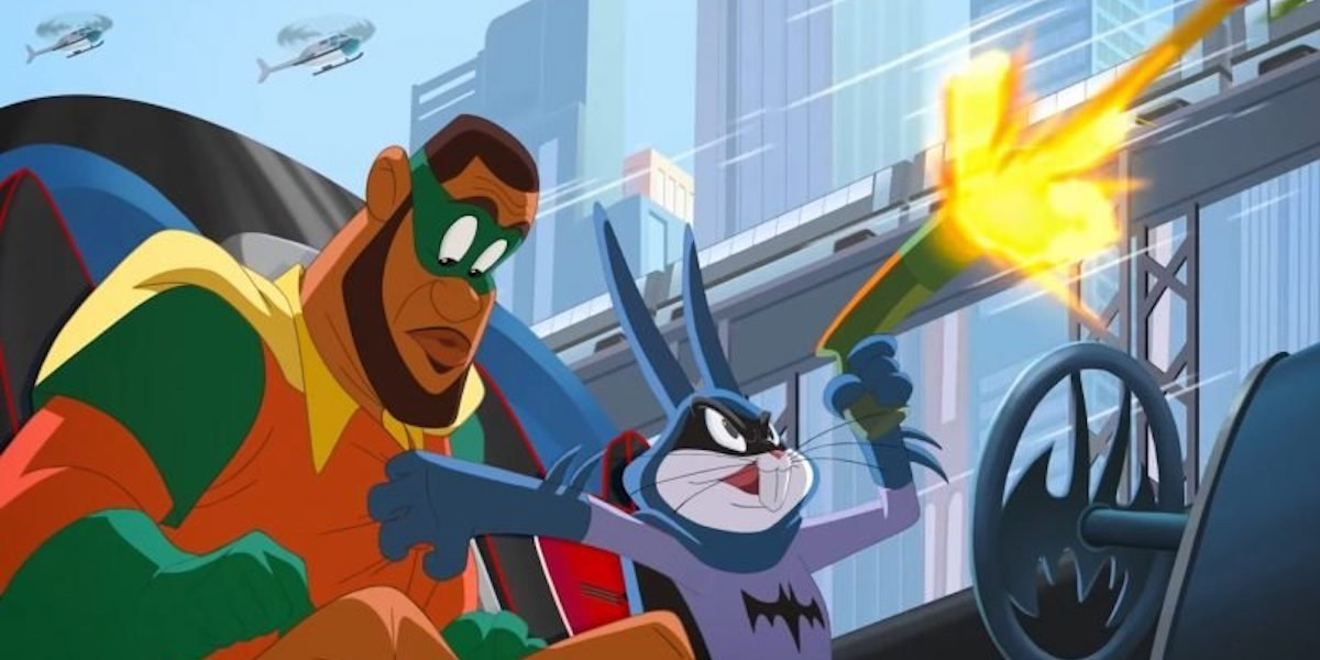 LeBron James and Bugs Bunny as Robin and Batman in Space Jam: A New Legacy
