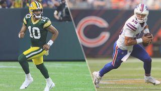 Packers vs Bills live stream — Jordan Love of Green Bay Packers and Mitch Trubisky of Buffalo Bills