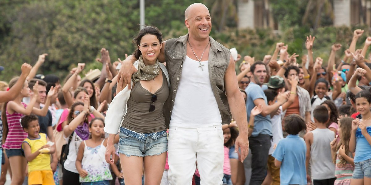Michelle Rodriguez and Vin Diesel in The Fate of the Furious