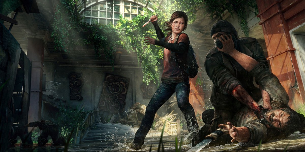 Ellie and Joel fight off a zombie in The Last of Us