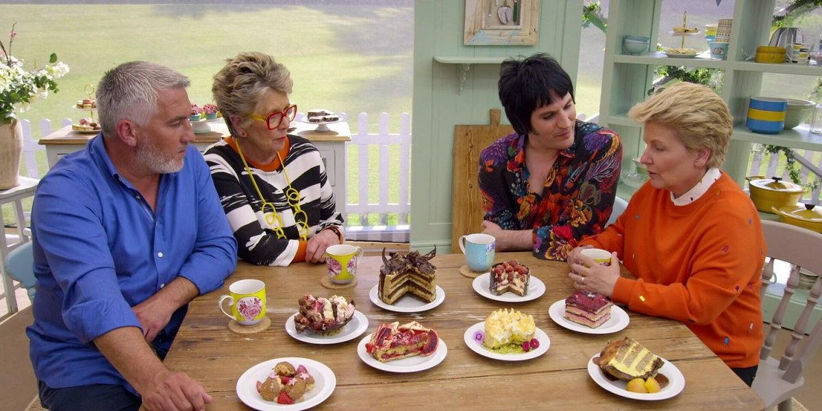 Noel Fielding, Sandi Toksvig, Prue Leith, and Paul Hollywood in The Great British Baking Show