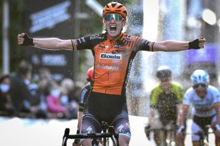 Belgian Jolien DHoore celebrates as she crosses the finish line to win the women elite race of the GentWevelgem In Flanders Fields one day cycling race 1411 km Sunday 11 October 2020 in Wevelgem BELGA PHOTO DAVID STOCKMAN Photo by DAVID STOCKMANBELGA MAGAFP via Getty Images