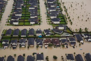 Residential neighborhoods in Houston sit in floodwater in the aftermath of Tropical Storm Harvey.