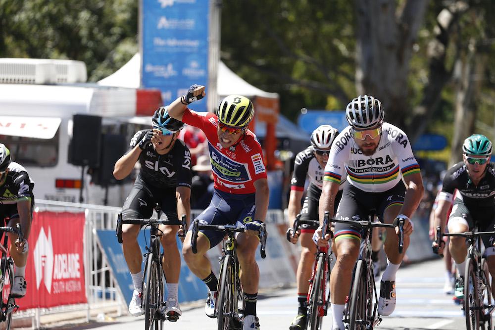 Peter Sagan, Caleb Ewan and Elia Viviani go head-to-head at Tour Down Under