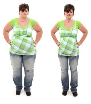 A before-and-after of a fat and thing woman.