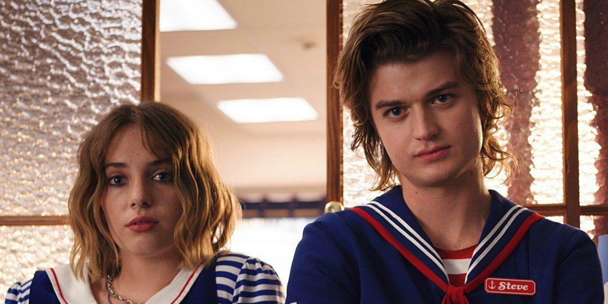Maya Hawke as Robin Buckley and Joe Keery as Steve Harrington on Stranger Things (2019)
