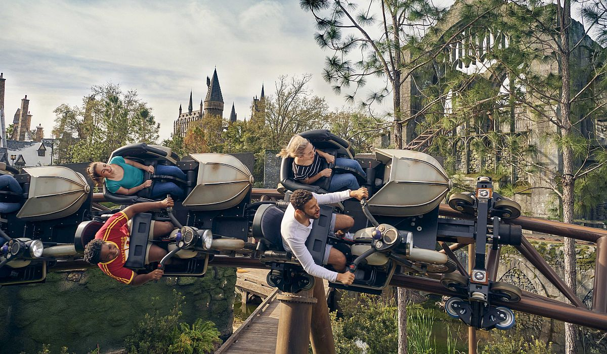 Hagrid's Magical Creatures Motorbike Adventure vehicles at an angle