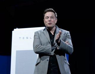 Elon Musk speaks at the Tesla Design Studio on April 30, 2015, in Hawthorne, California.