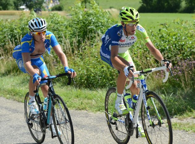 Vincenzo Nibali and Andriy Grivko attack, Tour de France 2012, stage 11