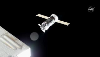 The Russian Progress 74 cargo ship is seen moments before docking at the International Space Station on Dec. 9, 2019 to deliver more than 2.7 tons of supplies for the outpost's Expedition 61 crew.