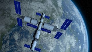 3D illustration of Tiangong, the Chinese space station, orbiting Earth, with Earth in the background.