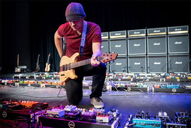 Sweetwater and guitarist Rob Scallon break the Guinness World Record for World's Largest Guitar Effect Pedalboard | MusicRadar
