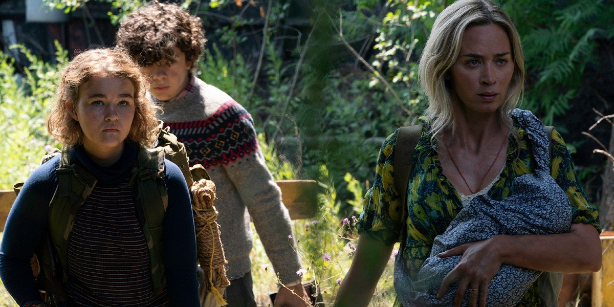 A Quiet Place Part II Millicent Simmonds, Noah Jupe, and Emily Blunt walking through the woods