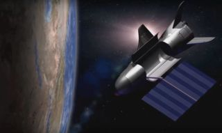 Artist's illustration of the U.S. Air Force's robotic X-37B space plane carrying out its mysterious duties in Earth orbit.