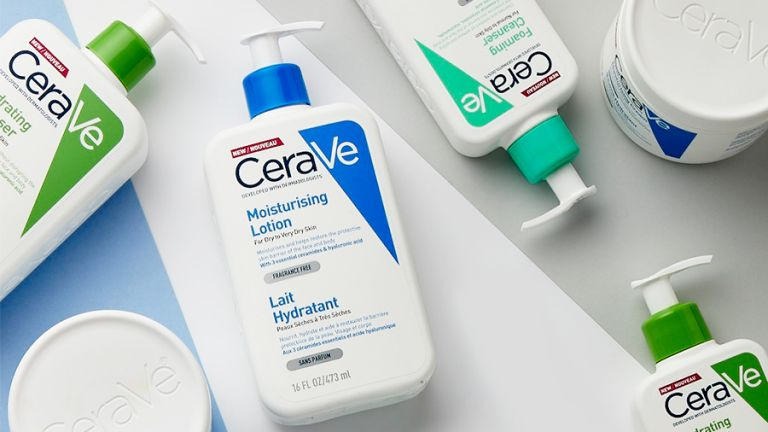 Flatlay of Cerave cleansers and moisturisers