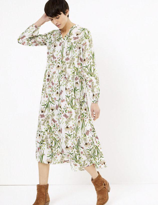 M&S floral midi dress