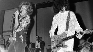 Robert Plant and Jimmy Page (on right) of The New Yardbirds (soon to be re-named Led Zeppelin) perform live on stage at Gladsaxe teen Club in Gladsaxe, Denmark on 7th September 1968.