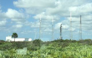 SpaceX's damaged launchpad at Space Launch Complex-40.