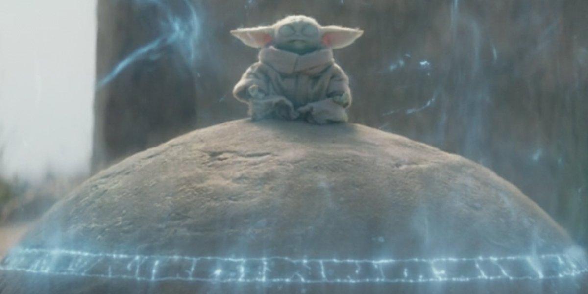 Baby Yoda on the Seeing Stone in The Mandalorian Season 2