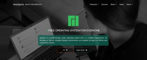 Screenshot of Manjaro Linux's website