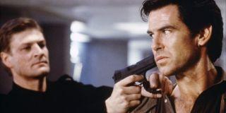 Sean Bean holds Pierce Brosnan at gunpoint in Goldeneye.