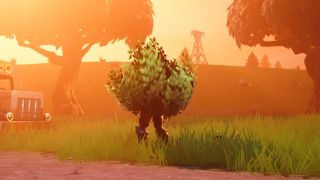 A bush suspiciously stands on two legs in Fortnite Battle Royale.
