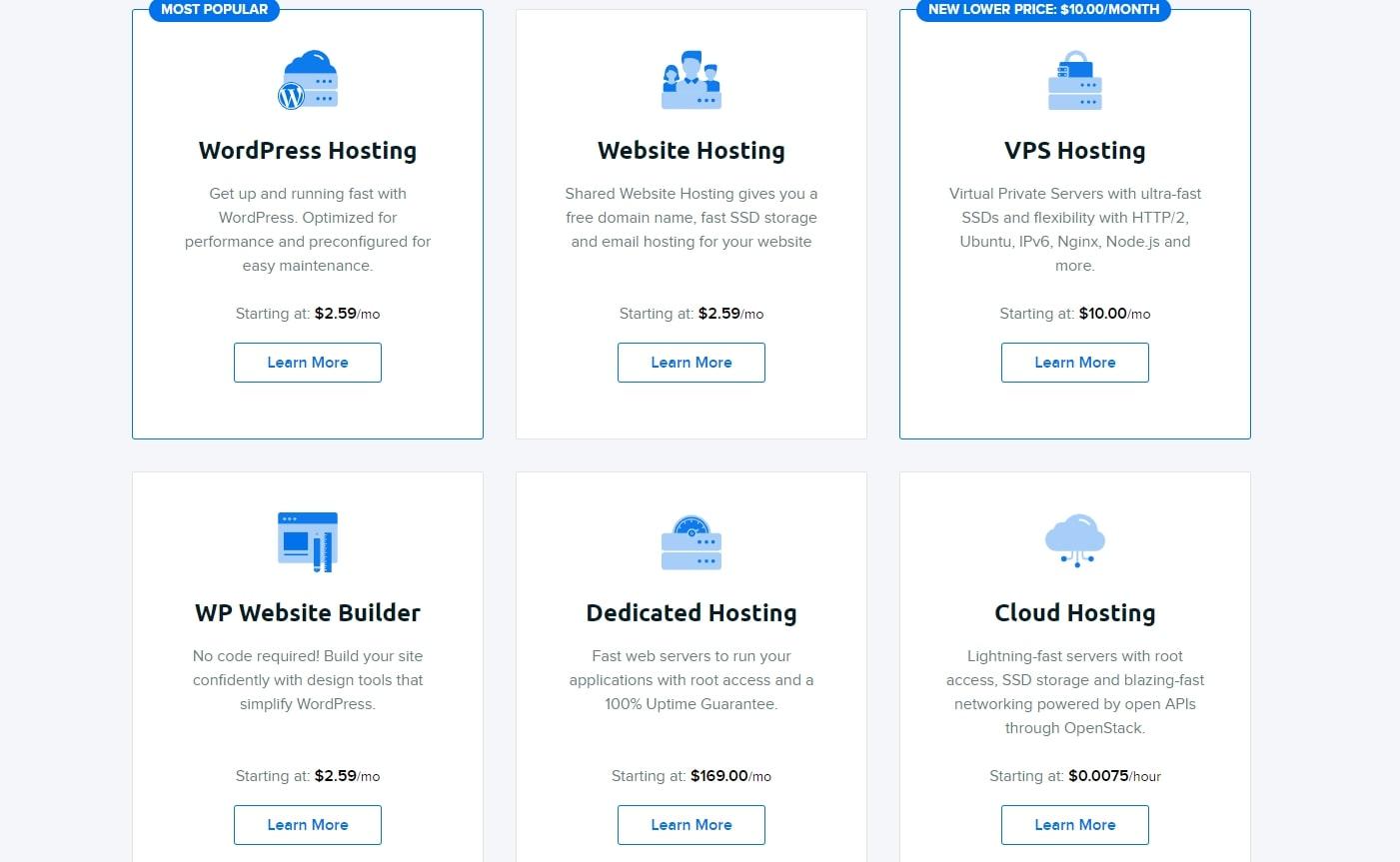 DreamHost propose une gamme d'options d'hébergement et de prix