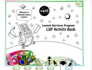 A screenshot from NASA's LSP Activity Book, a mobile app and online coloring book to spark interest about rocket launches in kids. The app was created by NASA's Launch Services Program.